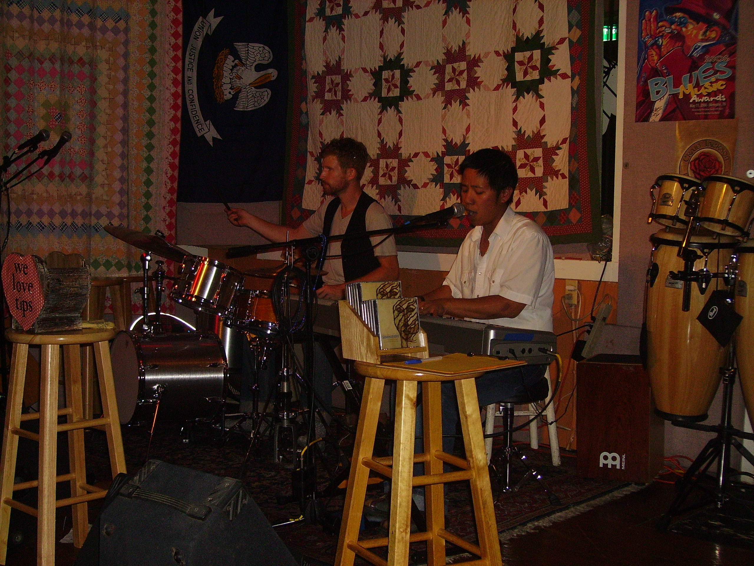 My drummer Tim Good and I performing at Richard's Cafe